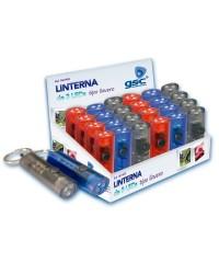 Espositore da 24 torce elettriche a 3 led tipo portachiavi