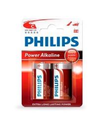 Scatola da 12 blister da 2 pile LR14 C Philips - batterie alcaline