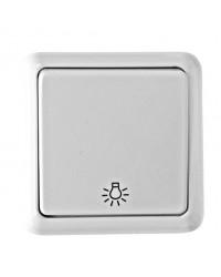 Interruttore pulsante da parete a superficie con simbolo luce, bianco