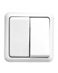 Commutatore doppio da parete a superficie, bianco
