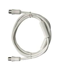 Prolunga 1.5 metri cavo coassiale TV da Ø9.5mm, con filtro, maschio a femmina, bianco