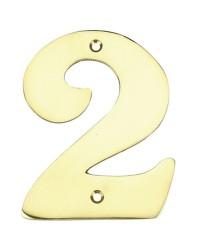 """Numero porta da esterno in acciaio inox """"2"""""""