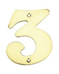 """Numero porta da esterno in acciaio inox """"3"""""""