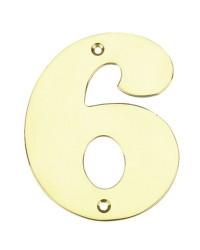 """Numero porta da esterno in acciaio inox """"6"""""""