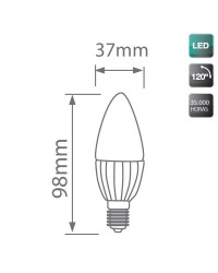 Lampadine LED candela in ceramica 5W E14 470lm 3000K 120º