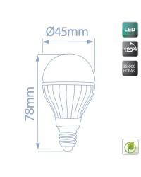 Lampadine LED 560lm sferiche 6W E14 6000K 120º