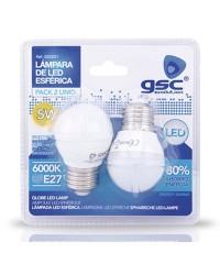 Pack 2 Lampadine LED sferiche E27 5W 420lm 6000K