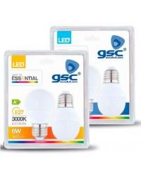 Pack 2 lampadine LED E27 6W 560lm 3000K 120º