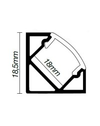 Profilo di alluminio ad angolo per striscie LED - 2 Mt.