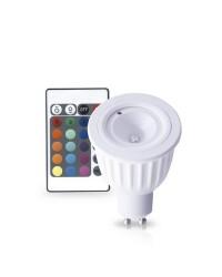 Lampadina RGB 5W GU10 6000K + telecomando 230V