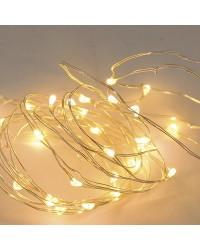 Filo luce natalizia LED bianco caldo 10m. IP44 230V.